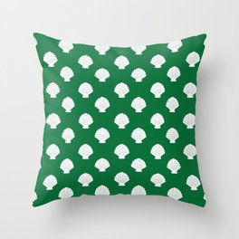 Seashells (White & Olive Pattern) Throw Pillow