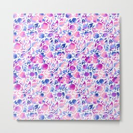 Watercolor Floral Papercut Pink Blue Purple on White Metal Print