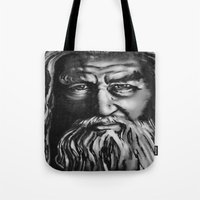 gandalf Tote Bags featuring Gandalf by spiderdave7
