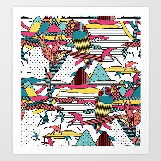 Pop art memphis 80's bird print Art Print