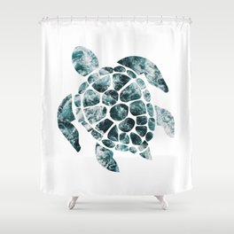 Sea Turtle - Turquoise Ocean Waves Shower Curtain