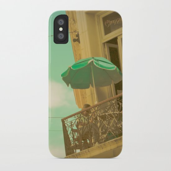 Vintage Turquoise Summer Umbrella (Retro and Vintage Urban Photography)  iPhone Case