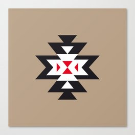 Navajo Aztec Pattern Black White Red on Light Brown Canvas Print