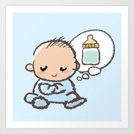 Baby boy Thinking of Milk Art Print