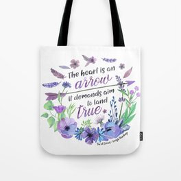 The heart is an arrow Tote Bag