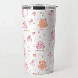 Cute funny pastel pink coral orange owl floral Travel Mug