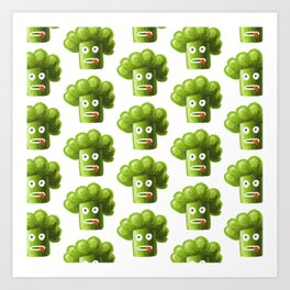Funny Broccoli Pattern Art Print