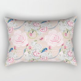 Watercolor Roses and Blush French Script Rectangular Pillow