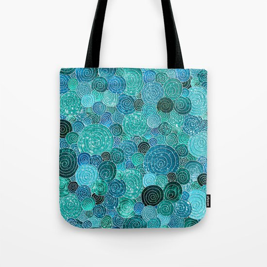 Abstract blue& green glamour glitter circles and dots for Girls and ladies Tote Bag
