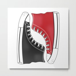 Converse Shoes. Black and Red Metal Print