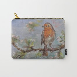 Red Robin Small bird on a blooming twig Wildlife spring scene Pastel drawing Carry-All Pouch