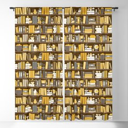Book Case Pattern - Yellow Grey Blackout Curtain