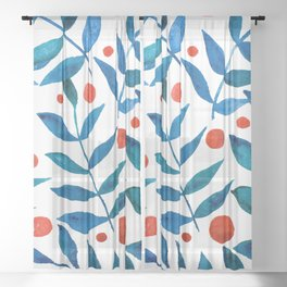 Watercolor berries and branches - blue and orange Sheer Curtain