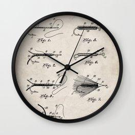 Fly Fishing Patent - Fisherman Art - Antique Wall Clock