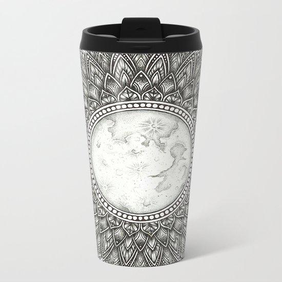 Black and White Moon Mandala Metal Travel Mug
