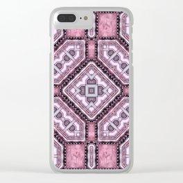 Victorian Art Deco Medieval Pattern light purple SB25 Clear iPhone Case