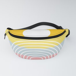 Geometric Lines in Shades of Mustard Yellow Baby Blue Pink (Sun and Rainbow Abstract) Fanny Pack