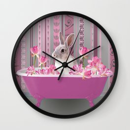 Bunny sitting in bathtub with lotus flowers #society6 Wall Clock