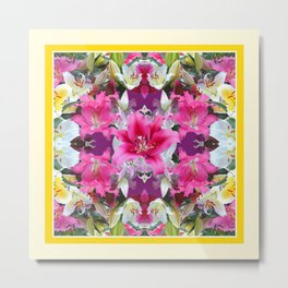 PINK & WHITE LILY GARDEN  YELLOW ABSTRACT Metal Print