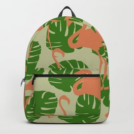 Flamingos and Monstera Pattern W Backpack