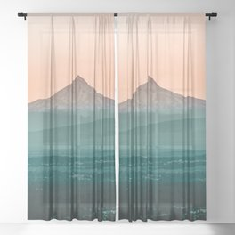 Stratovolcano Sunset // Beautiful Scenic Oregon Mountain Scape Teal Rolling Hills Snow Summit Sheer Curtain