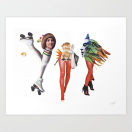 Disco and vegetables Art Print