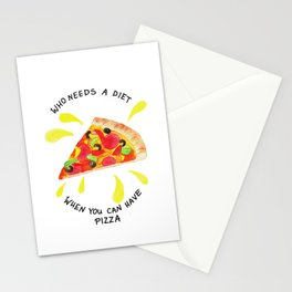 pizza is the best Stationery Cards