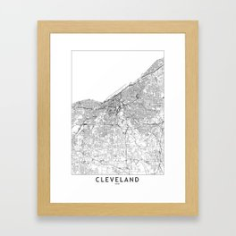 Cleveland White Map Framed Art Print