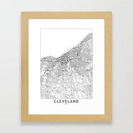 Cleveland White Map Framed Art Print
