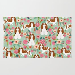 Blenheim Cavalier King Charles Spaniel dog breed florals pattern Rug