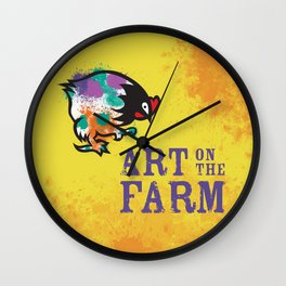 Hen Peck Yellow Wall Clock