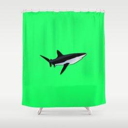 Great White Shark  on Acid Green Fluorescent Background Shower Curtain