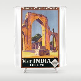 Visit Delhi Travel Poster Shower Curtain