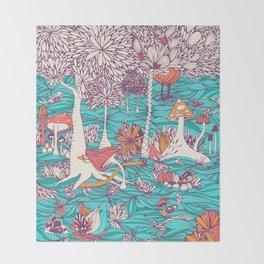 Mushrooms Forest Throw Blanket