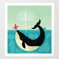 whale Art Prints featuring The Bird and The Whale by Oliver Lake
