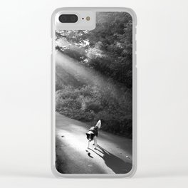 Dog in morning sunlight Clear iPhone Case
