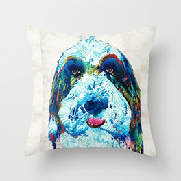 Bearded Collie Art - Dog Portrait by Sharon Cummings Throw Pillow