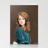 emma stone Stationery Cards featuring Emma Stone by Artsy Rosebud