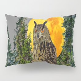 OWL WITH FULL MOON & PINE TREES GREY ART Pillow Sham