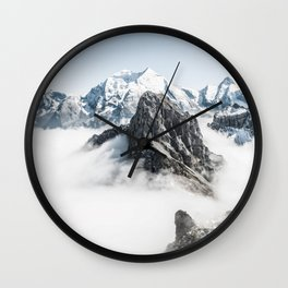 Mountain Tops Above Clouds And Snow Wall Clock