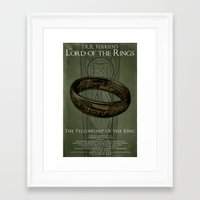 lord of the ring Framed Art Prints featuring Lord of the Rings - Fellowship of the Ring by Stuckey