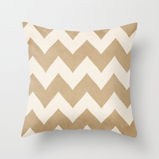 Biscotti & Vanilla - Beige Chevron Throw Pillow