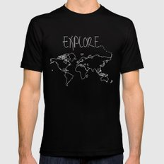 Explore World Map Mens Fitted Tee Black SMALL