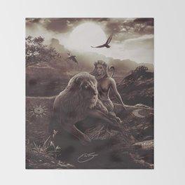 VIII. Strength Tarot Card Illustration (Warmth) Throw Blanket