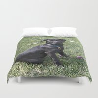 lab Duvet Covers featuring Black Lab by Sierra LaFrance