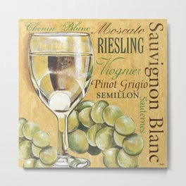 White Wine Text Metal Print