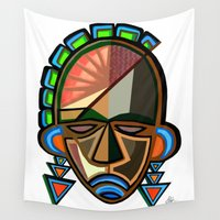 mask Wall Tapestries featuring MASK by Asare Adjei