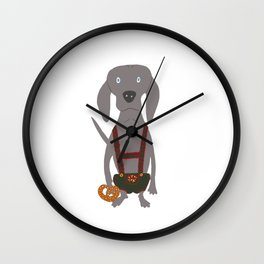 Oktoberfest German Weim Grey Ghost Weimaraner Dog Hand-painted Pet Drawing Wall Clock