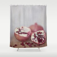 pomegranate Shower Curtains featuring Pomegranate by Kim Bajorek