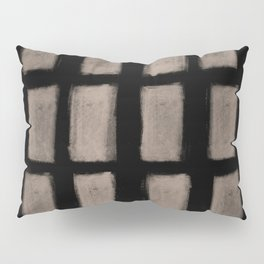 Brush Strokes Vertical Lines Nude on Black Pillow Sham